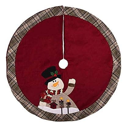 Cosanter-Weihnachtsbaum-Teppich-Baumdecke-Baum-Rock-Dunkelrote-Decke-Christbaumstnder-105-cm-Durchmesser-Schneemann-Muster