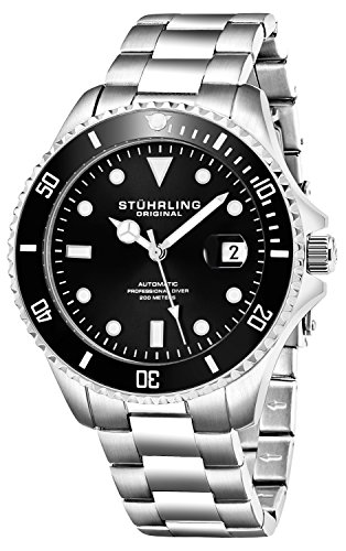 Stuhrling-Original-Ltd-Edition-Schwarz-Zifferblatt-Selbstaufziebar-Herren-Taucheruhr-200M-Wasserdicht-einseitig-drehbare-Lnette-Solide-Edelstahl-Armband-Verschraubte-Mode-Krone-Sportuhr