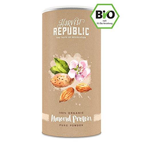 Natürliches Bio Mandelprotein – HARVEST REPUBLIC – Veganes Eiweisspulver perfekt für Protein Shakes (100% pures Proteinpulver aus ökologischem Landbau – ohne Zusätze)