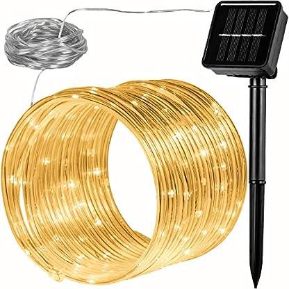 VOLTRONIC-100-LED-Solar-Batterie-Lichterschlauch-Lichterkette-fr-innen-und-auen-Farbwahl-warmweikaltwei-bunt-IP44-2-Leuchtmodi-Outdoor