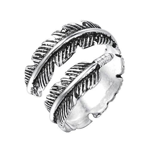 Vintage-Ring mit klassichem Federdetail im Punk-Stil für Frauen und Herren, aus 925er-Sterlingsilber