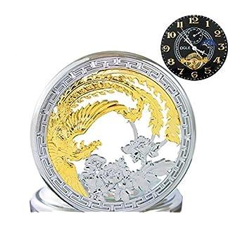 Ogle-Wasserdicht-Gold-Phoenix-Schwarz-Tourbillon-Phasen-Mond-Kette-Schlsselanhnger-Automatische-Mechanische-Taschenuhr