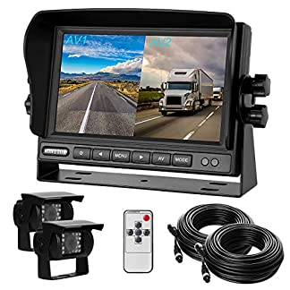 Rckfahrkamera-und-Monitor-Set-4-IR-Nachtsicht-wasserdicht-Rckfahrsystem-Kamera-7-TFT-LCD-KFZ-Monitor-20m-Anschlusskabel-12-24-Volt