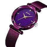 Frauen-Uhr-Frau-fashion-Luxus-Handgelenk-Uhren-fr-Damen-Kleid-Business-Casual-Wasserdicht-Quarz-Armbanduhr-fr-Frau-mit-lila-Edelstahl-Mesh-Band-und-Violett-Sub-Zifferblatt
