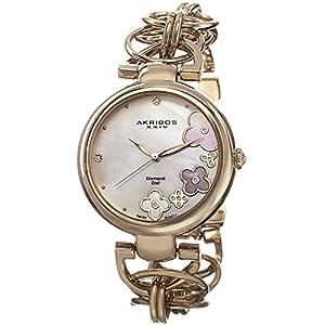 Akribos-XXIV-Damen-Armbanduhr-Kunstvolles-Analog-Quarz-mit-Legierung-Armband