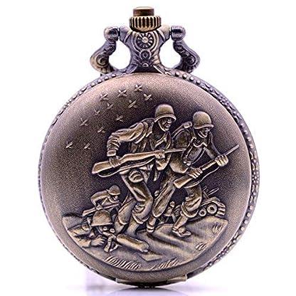 Vintage-Bronze-Soldat-Quarz-Taschenuhr-mit-Kette-Herren-Damen-Halskette-Anhnger-Taschenuhr-mit-Box-fr-Armee-Gedenken