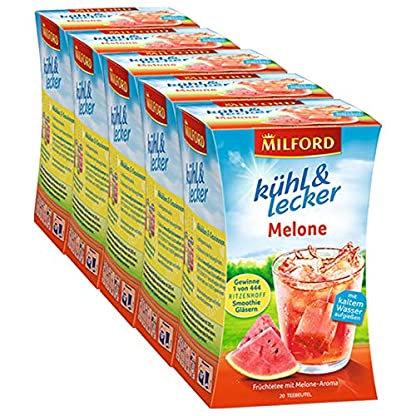 Milford-khl-lecker-Melone-20-Teebeutel-5er-Pack