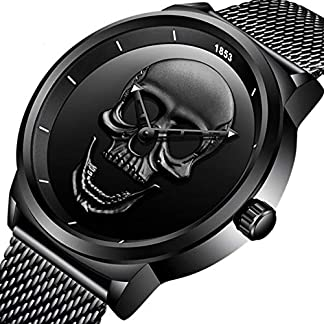 Creative-Herren-Armbanduhr-Totenkopf-Cool-Edelstahl-Big-Zifferblatt-Vintage-Boy-Punk-Quarz-Uhren