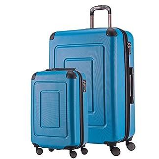 Happy-Trolley-2er-Koffer-Set-Trolley-Set-Rollkoffer-Hartschalen-Koffer-Reisekoffer-Lugano-sehr-leicht-TSA-SXL-Cyan-Blau