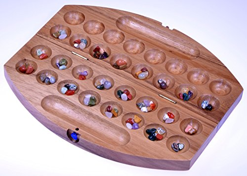 Bao-Hus-Kalaha-Reisespiel-fr-unterwegs-30cm-lang-Steinchenspiel-Edelsteinspiel-oval-aus-Samena-Holz
