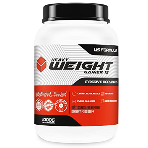 Heavy Weight Gainer 15, Kohlenhydrat- und Eiweiß Supplement (85% Carbo : 15% Protein, – Ratio 9:1) für Hard-, Soft- und Easygainer, by BBGenics Sports Nutrition – 1000g Vanille
