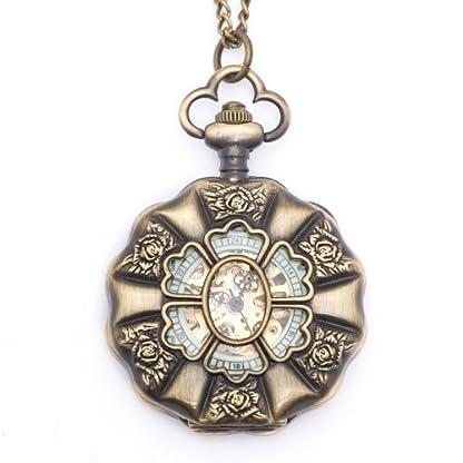 81stgeneration-Mechanische-Jahrgang-Messing-Taschenuhr-Anhnger-Medaillon-lange-Halskette