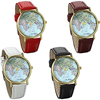 JewelryWe-Damen-Armbanduhr-Retro-Weltkarte-Globus-Karte-World-Map-Leder-Band-Analog-Quarz-Uhr-Bloggeruhr-Geschenk