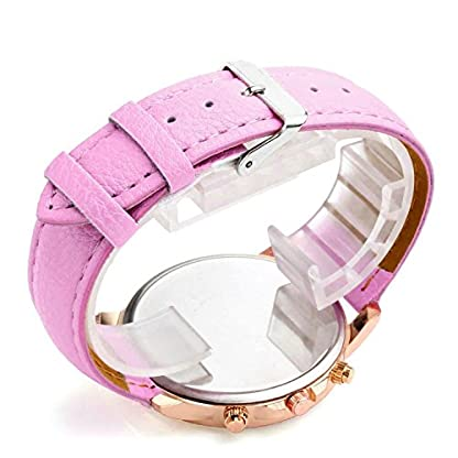 Armbanduhr-Damen-Ronamick-Damen-Mode-Genf-rmische-Ziffern-Kunstleder-analoge-Quarz-UhrUhren-Damenuhren