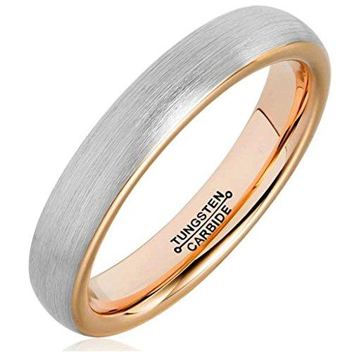 AMDXD Herren Ring Wolfram Stahl (mit Gratis Gravur) Runde 4MM Silber Rose Gold Ehering