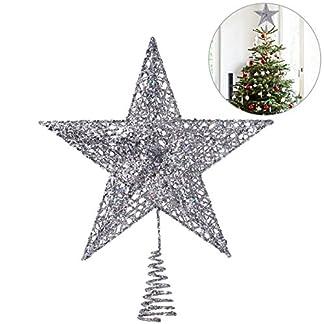 NICEXMAS-Weihnachtsbaumspitze-mit-Stern-20-cm-silberfarben-exquisit-schimmernd-Weihnachtsbaumschmuck