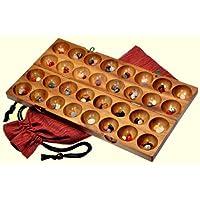 Hus-Bao-Kalaha-Bohnenspiel-Muschelspiel-Edelsteinspiel-aus-Samena-Holz-inkl-75-Edelsteinen-und-Stoffbeutel