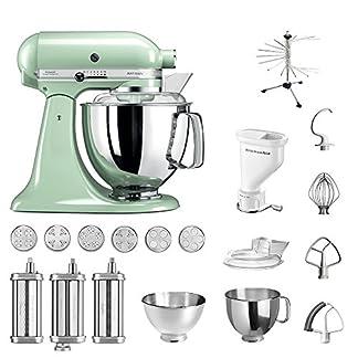 KitchenAid-Kchenmaschine-Artisan-5KSM175PS-Pasta-Paket-inkl-TOP-Zubehr-Nudelvorsatz-mit-3-Walzen-Pastapresse-kurz-mit-6-Aufstzen-Nudeltrockner-Abdeckhaube-und-Standardzubehr-Pistazie