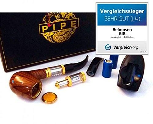 EXKLUSIVE ELEKTRISCHE PFEIFE 618 MIT WECHSELBAREM TANKVERDAMPFER IN HOLZOPTIK IM KOMPLETT-SET – e-Pfeife/e Pfeife/e-Pipe