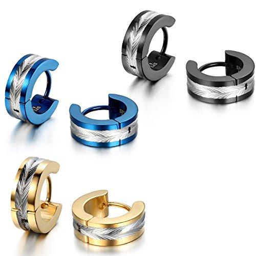 JewelryWe Schmuck Herren Ohrringe, Edelstahl, Glänzend Poliert Creolen Ohrstecker, Blau Schwarz Gold Silber