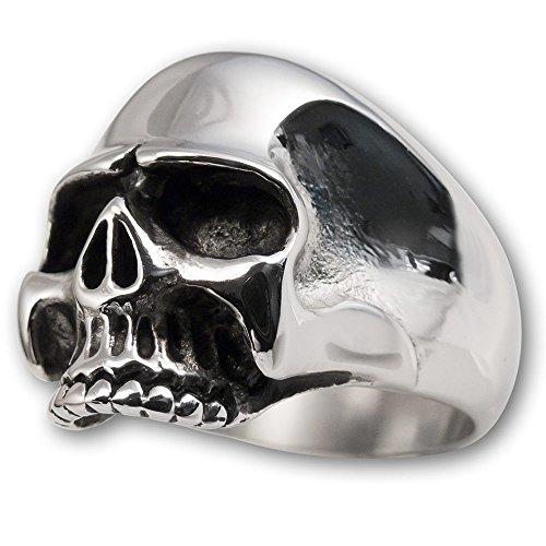Fly Style Herren Finger-Ring Totenkopf Keith Richards Skull 316L Edelstahl 17.2-24.9 mm risst030