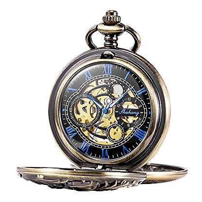 TREEWETO-Retro-Bronze-Mechanische-Taschenuhr-Drache-Gehuse-Doppelt-Halbjger-Design-Skelett-Blau-Rmische-Ziffern-Taschenuhren-mit-kette-und-Geschenkbox