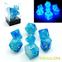 Bescon-Polygonal-Wrfel-Spielwrfel-Gemini-Two-Tone-Leuchten-DD-Dice-Set-ICY-ROCKS-Helle-RPG-Rollenspiel-Polyedrische-Dice-7pcs-Set-d4-d6-d8-d10-d12-d20-d-Brick-Box-Packaging
