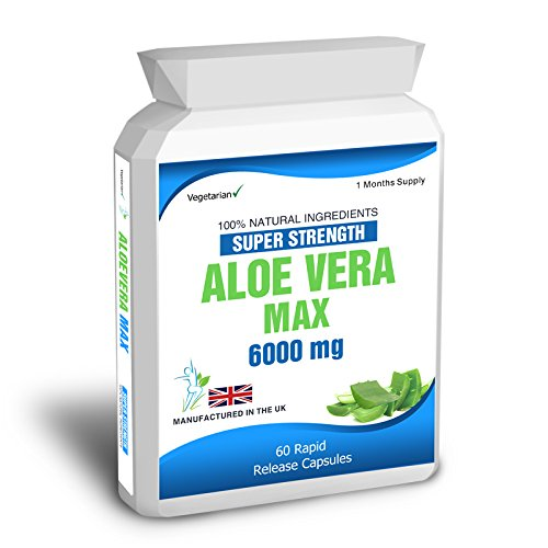 Body Smart Herbals – Aloe Vera 60 Max Capsules 6000mg High Strength Colon Cleanse Skin Care