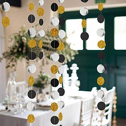 YXJDWEI-4-Set-Glitzer-Rund-Girlande-Papier-Girlande-Hngendeko-4m-fr-Hochzeit-Geburtstag-Party-Weihnachten-Verzierung-Haus-Deko-Gold-Schwarz-Silber