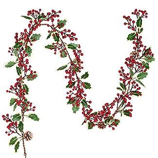YQing-213cm-Beerengirlande-Stechpalme-Deko-Girlanden-Weihnachten-mit-Tannenzapfen-und-grnen-Blttern-Knstliche-Rote-Beerengirlande-fr-Urlaub-Kamin-Treppe-Tischdekoration