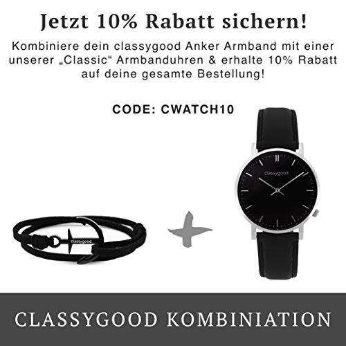 "classygood. Anker Armband schwarz ""Classy Bracelet – Black Edition"" , Alcantara Leder-Band schwarz für Damen/Herren"