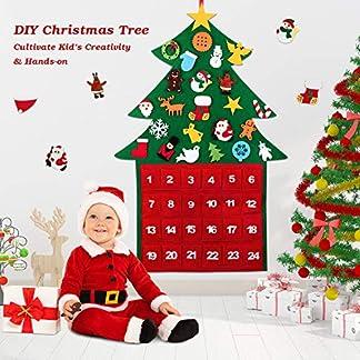 Wokkol-Weihnachtsbaum-33ft-Filz-Weihnachtsbaum-Felt-Christmas-Tree-mit-29Pcs-Abnehmbare-Ornamente-Wand-Dekor-Mit-Seil-fr-Kinder-Deko-Weihnachten-Weihnachtsspiel-Wand-Dekor-mit-Hngenden-Seil