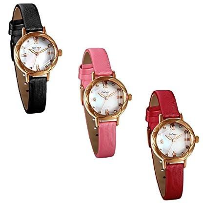 JewelryWe-Damen-Armbanduhr-30M-Wasserdicht-Analog-Quarz-Elegant-Charm-Uhr-mit-Strass-Rmischen-Ziffern-Zifferblatt-und-Leder-Armband-Farbe-Schwarz-Pink-Rot