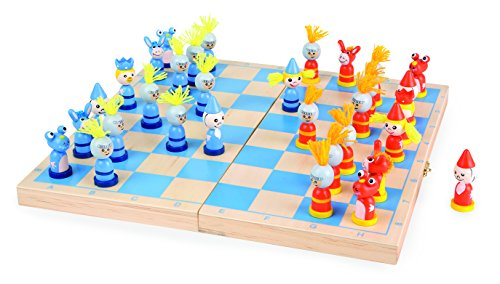 Schach-Ritter-aus-Holz-Reisespiel-mit-Koffer-dessen-Oberflche-gleichzeitig-als-Schachbrett-dient-und-32-lustigen-bunt-lackierten-Schachfiguren-aus-Holz-ab-6-Jahre
