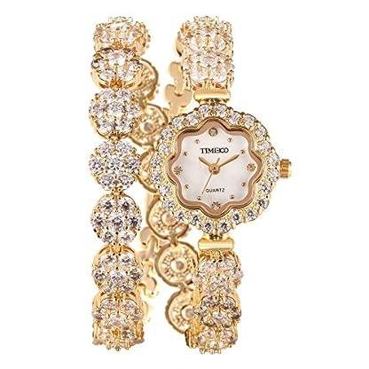 Time100-Damenuhr-dekoratives-Zifferblatt-lngerer-Band-Armbanduhr-Quarz-Analog-Uhr