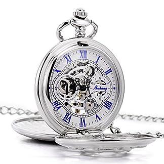 TREEWETO-taschenuhr-mit-kette-herren-silber-doppelabdeckungen-blau-rmische-ziffern-retro-uhr-taschenuhren-mechanisch-pocket-watch
