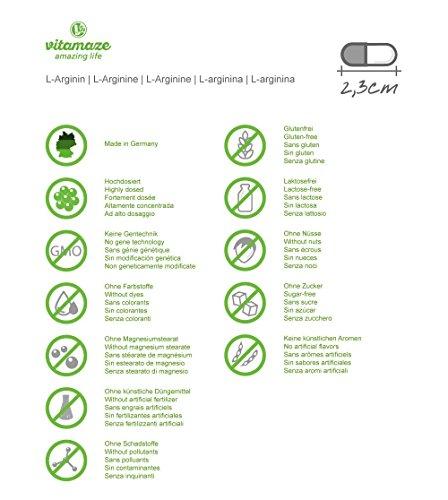 Vitamaze L-Arginin 4500 (Hochdosiert, ohne Zusatzstoffe), 360 Kapseln – 1 Dose