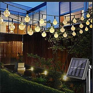 Vivibel-LED-Solar-Lichterkette-mit-LED-Kugel-10M-50-LEDs-8-Modi-IP65-Wasserdicht-Warmwei-Lichterkette-mit-Lichtsensor-Kristallblle-Beleuchtung-fr-Garten-Terrasse-Hof-Haus-Party