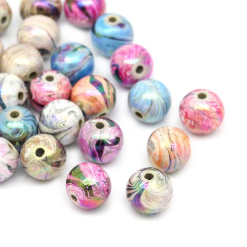 HOUSWEETY 300 Mix Mehrfarbig Kugeln Acryl Floral Perlen Beads 8mm