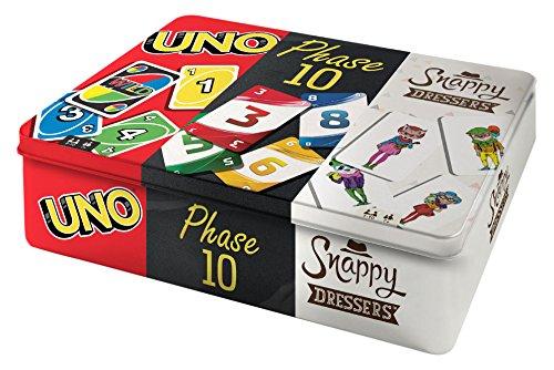 Mattel-Spiele-FFK01-Kartenspiel-Klassiker-in-Metalldose-Uno-Phase-10-und-Snappy-Dressers-Kartenspiele
