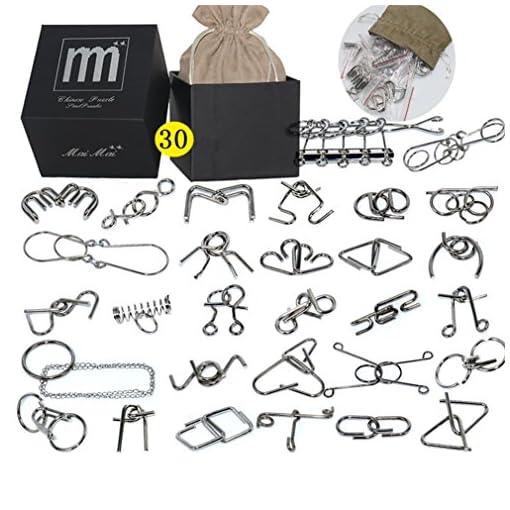 Gracelaza-30-Stck-Entwirrung-Puzzles-Geduldspiele-Set-Knobelspiele-Kit-Magisches-Spielzeug-Denksportaufgaben-Metallpuzzle-Ideal-Spielzeug-und-Geschenk-fr-Junge-und-Mdchen