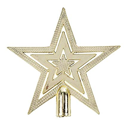 Anjing-20-cm-Glitzer-Stern-Christbaumspitze-Deko-Ornament-Gold
