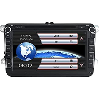 Yingly-8-Zoll-2-Din-Autoradio-fr-VW-Golf-Skoda-Seat-mit-Wince-System-DVD-Player-GPS-Navigation-FM-AM-Radio-Bluetooth-USB-SD-untersttzt-Park-Kamera-Lenkrad-Bedienung-1080P-Video-8GB-Kartenmaterial
