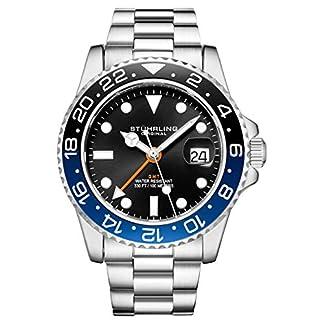 Stuhrling-Original-Herren-Edelstahl-Dreireihiges-Armband-GMT-Uhr-Schweizer-Quarz-Dual-Time-Quickset-Datum-mit-verschraubter-Krone-wasserdicht-bis-10-ATM