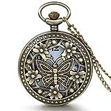 JewelryWe-Vintage-Taschenuhr-Damen-Schmetterling-Kettenuhr-Analog-Quarz-Uhr-mit-Halskette-Kette-Pocket-Watch-Muttertag-Geschenk