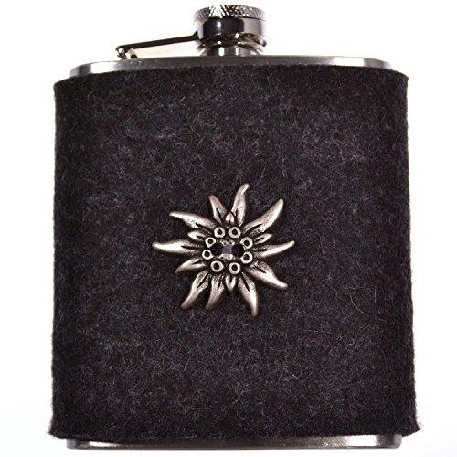 Flachmann EDELWEISS Grau – Taschenflasche mit Filzhülle