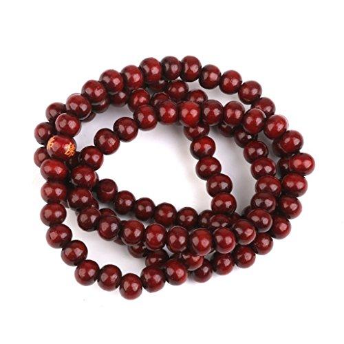 Rotes Sandelholz Gebetsperlen – SODIAL(R)Holz Gebetskette 108 Stk. Buddha Buddhistisch Mala Armbandkette Purpuraehnlich rot