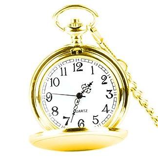 XLORDX-Taschenuhr-Herren-Unisex-Quarz-Uhr-mit-Halskette-Kette-uhr-Pocket-Watch-Geschenk-Gold