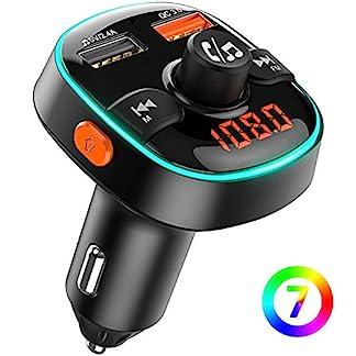 Bovon-Bluetooth-FM-Transmitter-QC30-Auto-Ladegert-Bluetooth-Auto-Adapter-Radio-Transmitter-mit-7-Farbiges-Umgebungslicht-Kabellose-KFZ-Freisprechanlage-Untersttzt-TF-KarteUSB-Stick