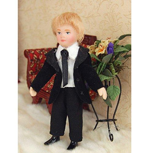 112-Puppenhaus-Miniatur-Jungepuppe-Puppe-mit-schwarzen-Anzug-Dekoration